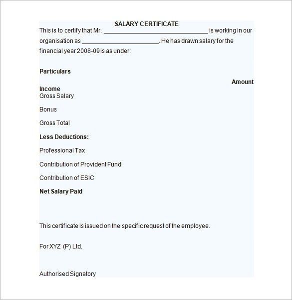 Sample Salary Certificate Template - 21+ Documents in PDF, Word - salary certificate template