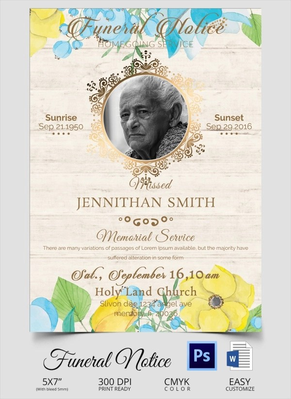 14+ Funeral Notices Sample Templates - Funeral Announcements Template
