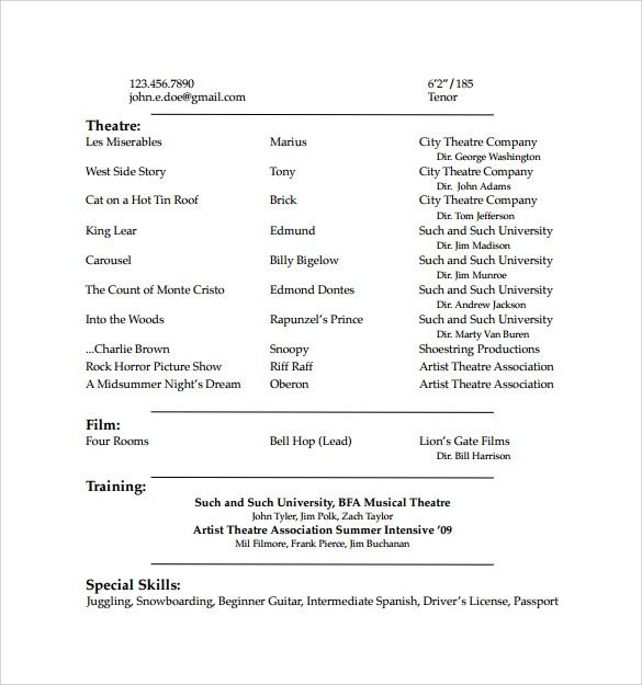 theatre resume word template