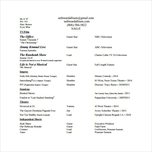 20 Useful Sample Acting Resume Templates to Download Sample Templates - Sample Of Acting Resume