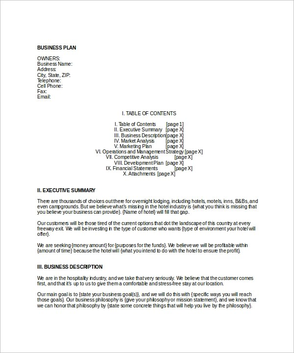 Sample of a business plan for hotel management professional resume sample of a business plan for hotel management hotel business plan example free sample template hotel flashek Gallery