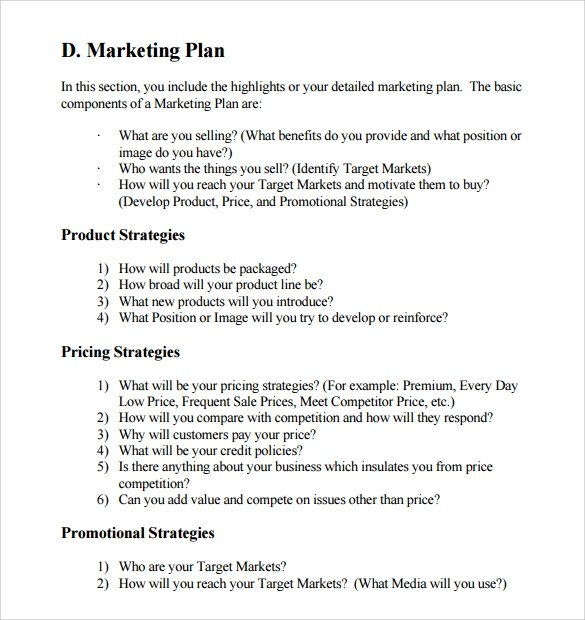 Sample Marketing Business Plan Template - 12+ Free Documents in PDF
