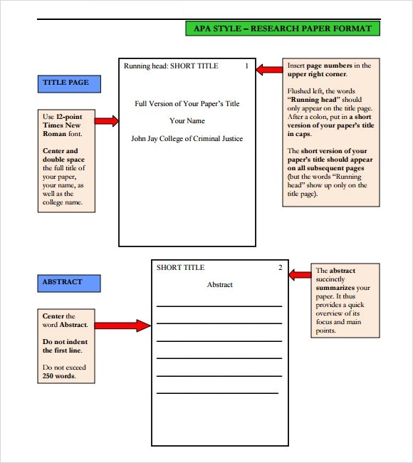 7+ Sample APA Format Templates Sample Templates - format apa