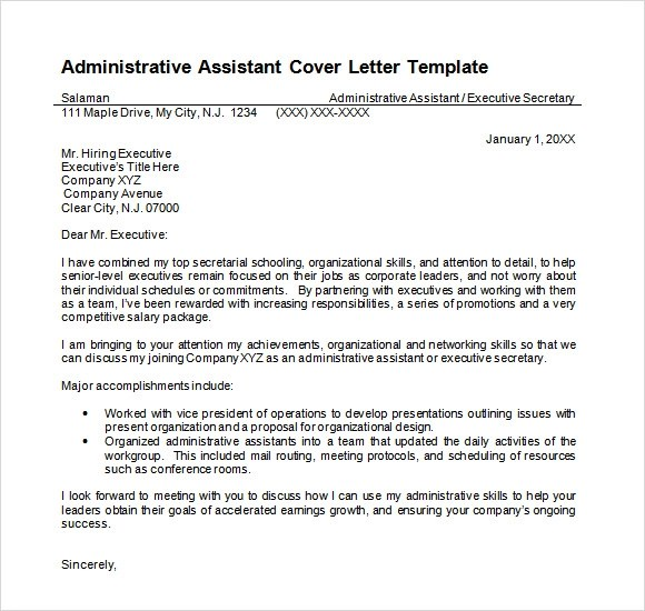 9 Administrative Assistant Resume Templates \u2013 Free Samples - cover letter template doc