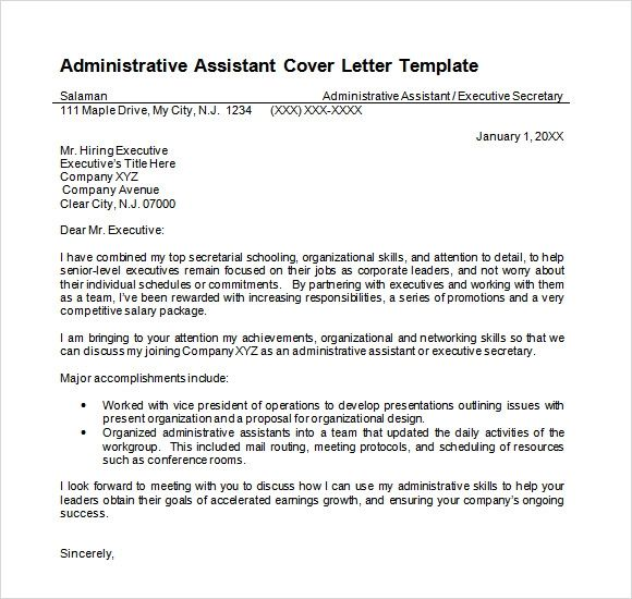 Senior Administrative Assistant Cover Letter