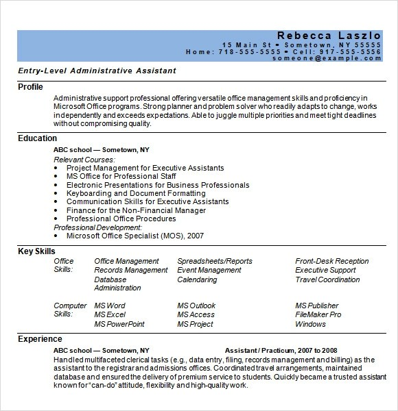 9 Sample Administrative Assistant Resume Templates to Download