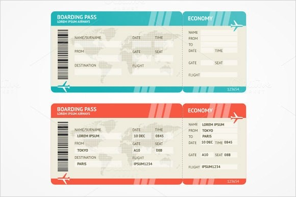 sample boarding pass template - Ozilalmanoof - airline ticket template word