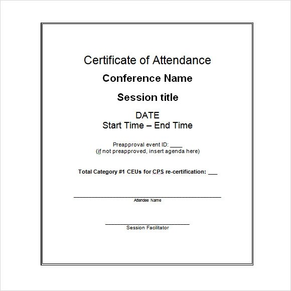 16+ Attendance Certificate Template - Download Free Documents in PDF