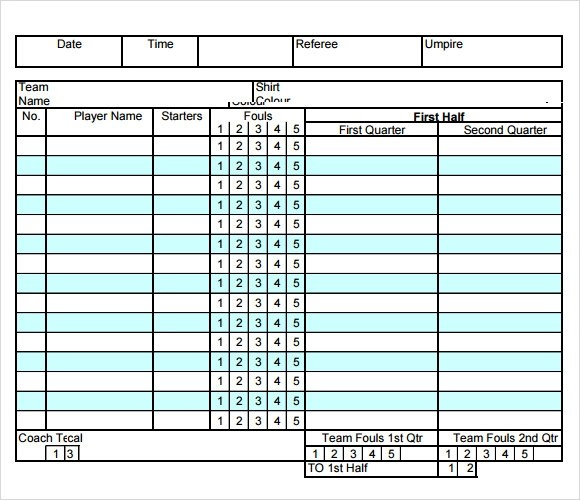 Sample Basketball Score Sheet Documents In Pdf Word Excel Sample - sample cricket score sheet