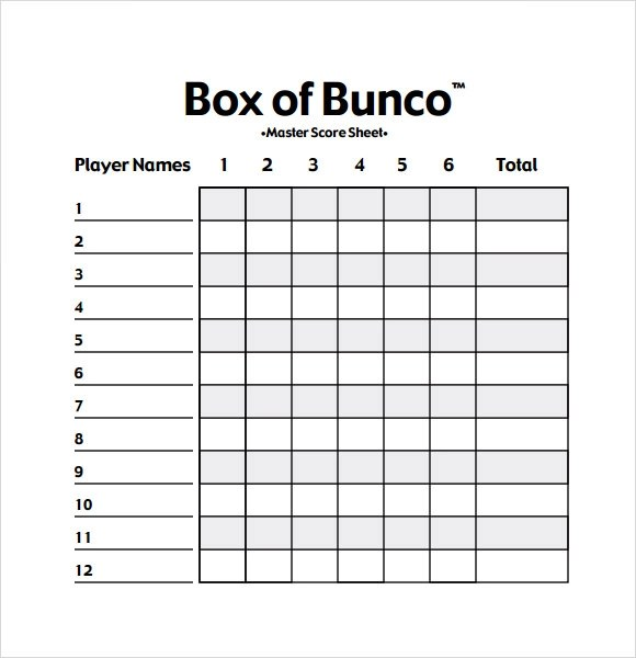 Bunco Score Sheets Template - 12+ Download Documents in PDF , PSD