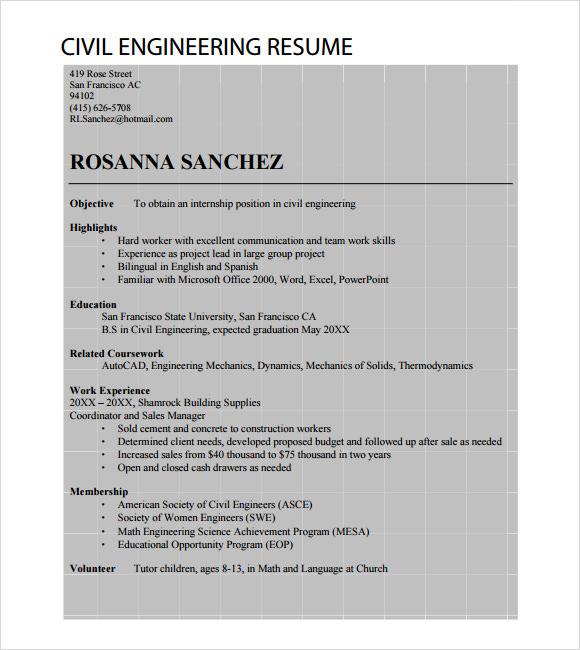 7+ Sample Civil Engineer Resume Templates \u2013 Free Samples , Examples