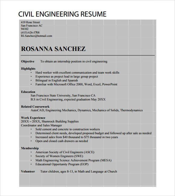 Entry Level Job Resume Template 7+ Sample Civil Engineer Resume Templates – Free Samples