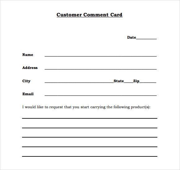 customer comment card template - Onwebioinnovate