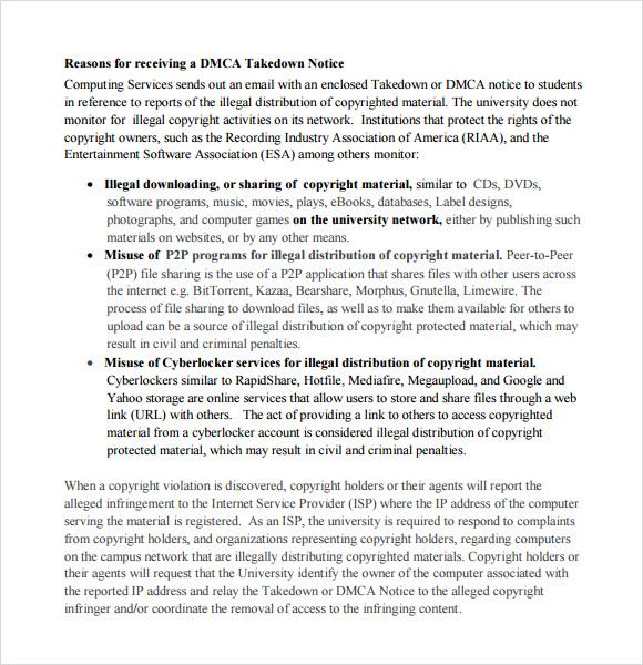 Sample DMCA Notice - 9+ Documents in PDF