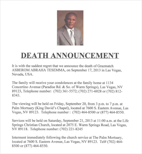 Sample Death Notice - 10+ Documents in PDF, PSD, WORD