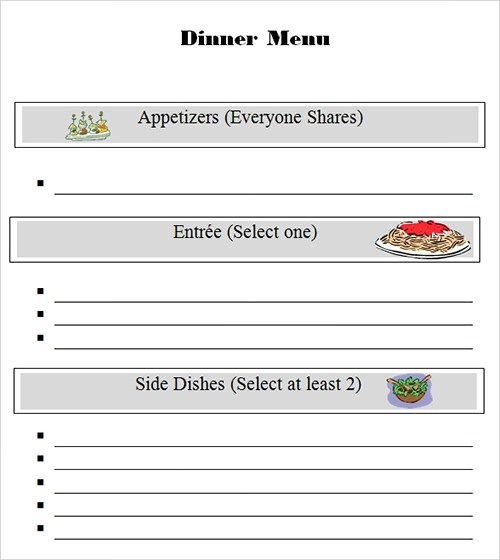 Sample Menu Template - 29+ Download in PDF, PSD, Word - dinner party menu template