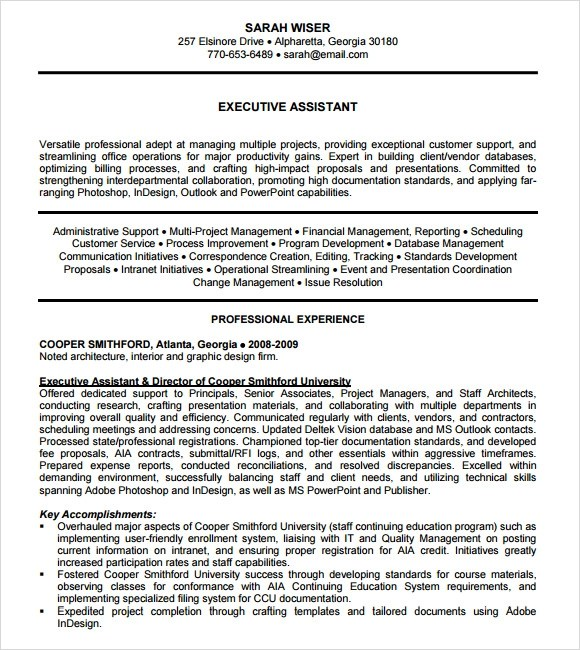 9 Sample Administrative Assistant Resume Templates to Download - Executive Assistant Resume Templates