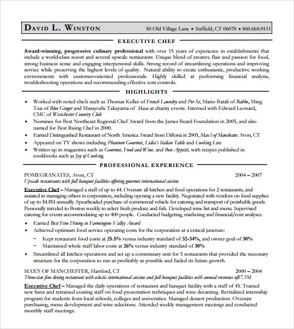 14+ Chef Resume Templates - Download Documents in PDF , Word , PSD