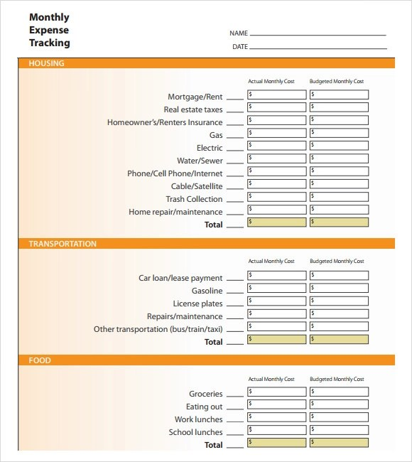 8 Sample Expense Tracking Templates to Download Sample Templates - free expense tracking