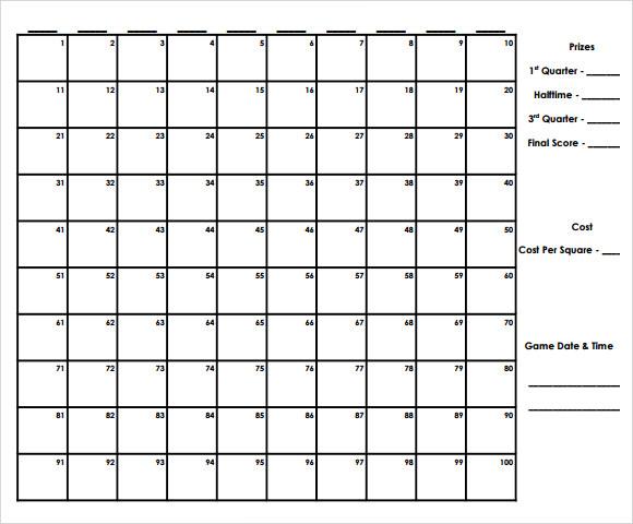 100 square football sheet - Timiznceptzmusic - football pool template