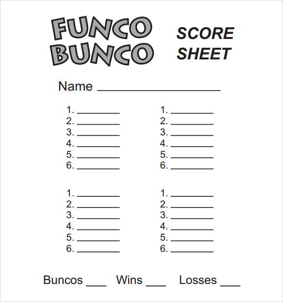 13 Sample Bunco Score Sheets Templates to Download Sample Templates - bunco score sheets template