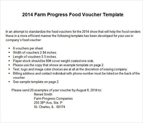 8 Sample Food Voucher Templates to Download Sample Templates - Lunch Voucher Template