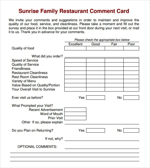 11+ Comment Cards \u2013 PDF, Word, Adobe Portable Documents Sample
