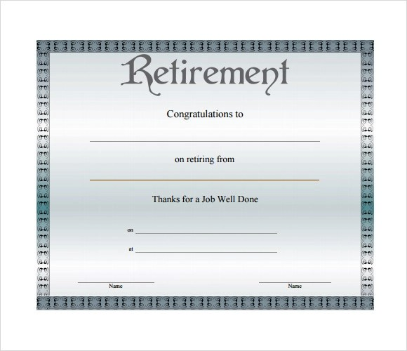 Retirement Certificate Template - 7+ Download Documents in PDF - certificate sample in word