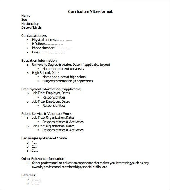 Sample Resume Format - 6+ Documents in Word, PDF - sample resume format for freshers