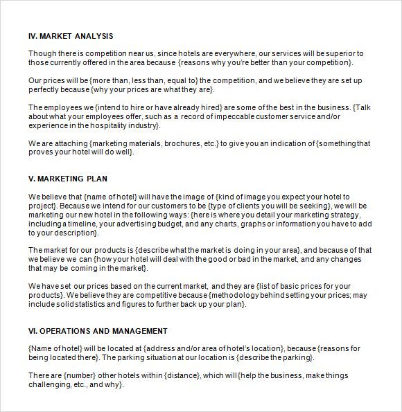 Resort Hotel Business Plan Template Panera Resume