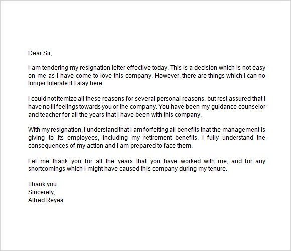 Notice of Resignation Sample - 7+ Documents in Word - immediate resignation letter