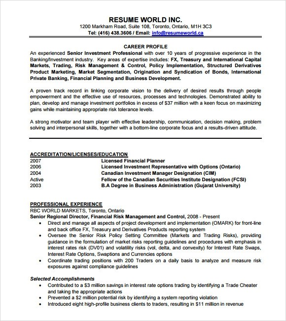 investment banking resume templates