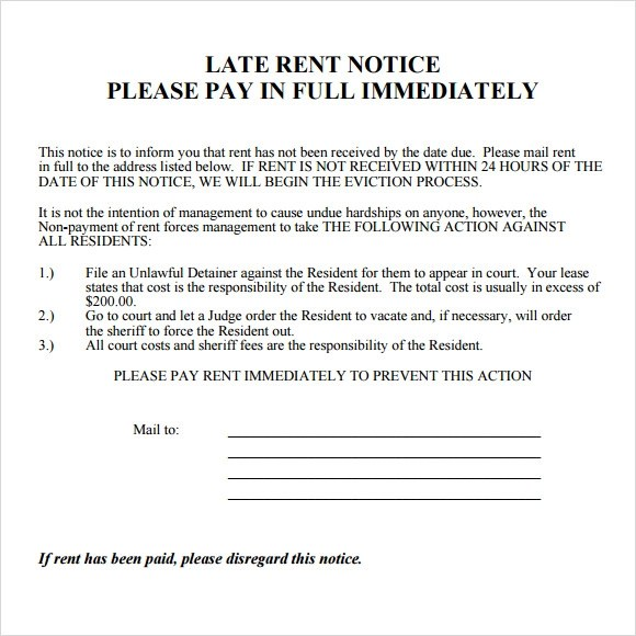 10 Useful Sample Late Rent Notice Templates to Download Sample
