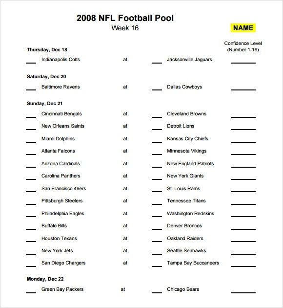 Sample Football Pool - 7+ Documents in PDF, Word, Excel - football pool template