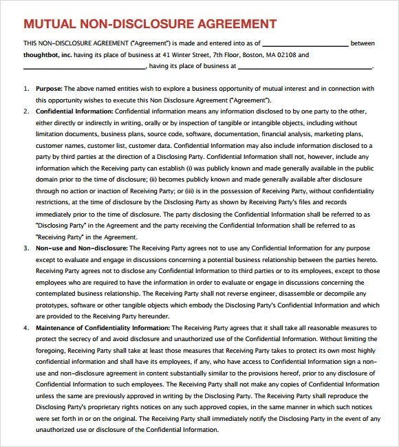 Sample Confidentiality Agreement - 6+ Documents in PDF - data confidentiality agreement