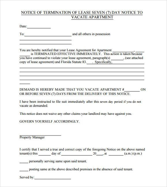30 day notice to vacate apartment templates