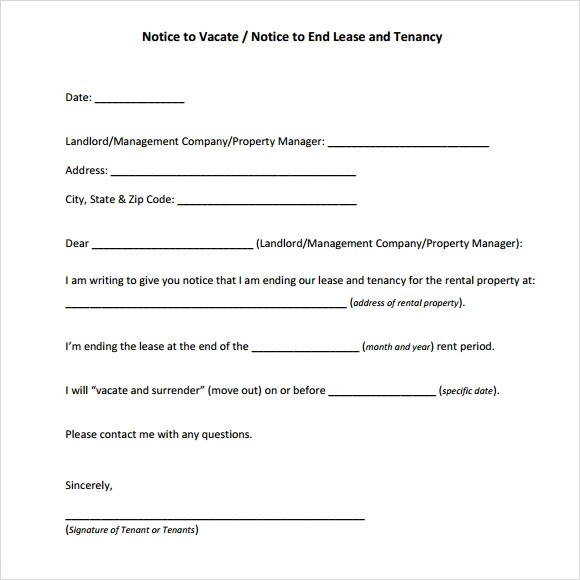 Notice To Vacate Property Template oakandale