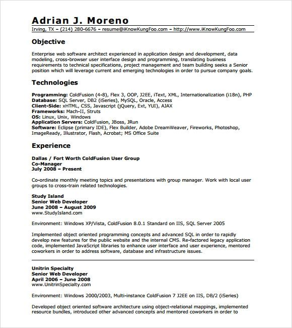 experience resume sample for php developer