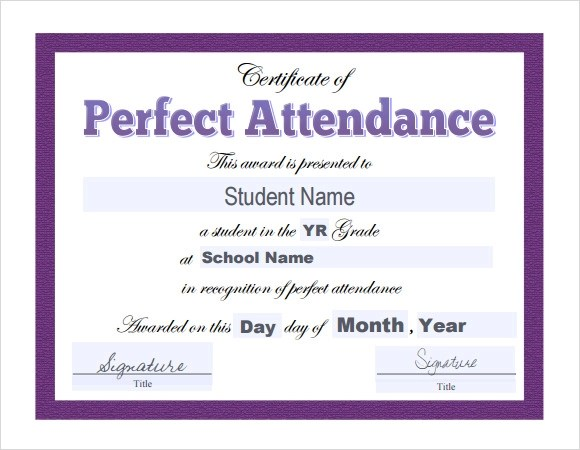 perfect attendance award certificate template