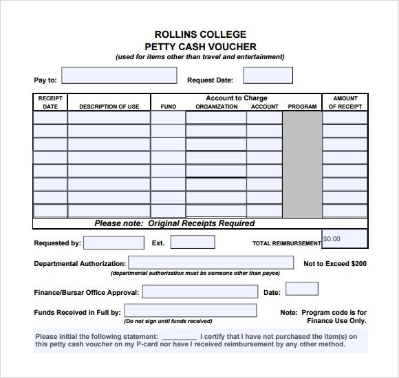 cash voucher sample format