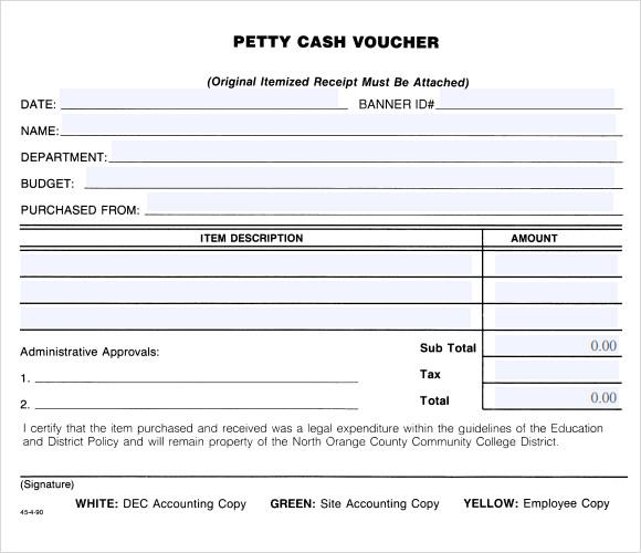 10+ Petty Cash Voucher Templates Sample Templates