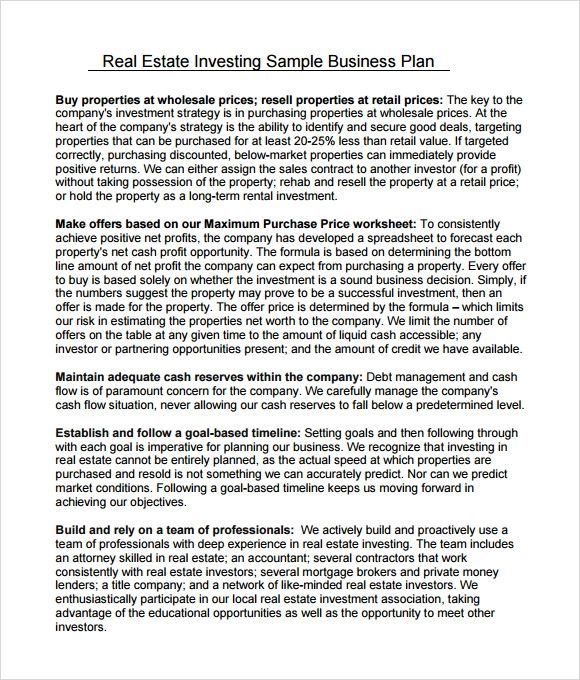 sample business plan for real estate investing
