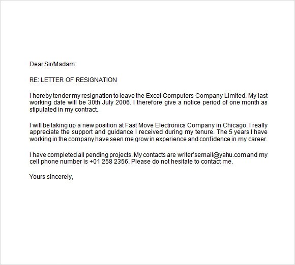 Weeks Notice Letter Two Week Notice Letter Example 9+ Two Weeks - resignation letter short notice