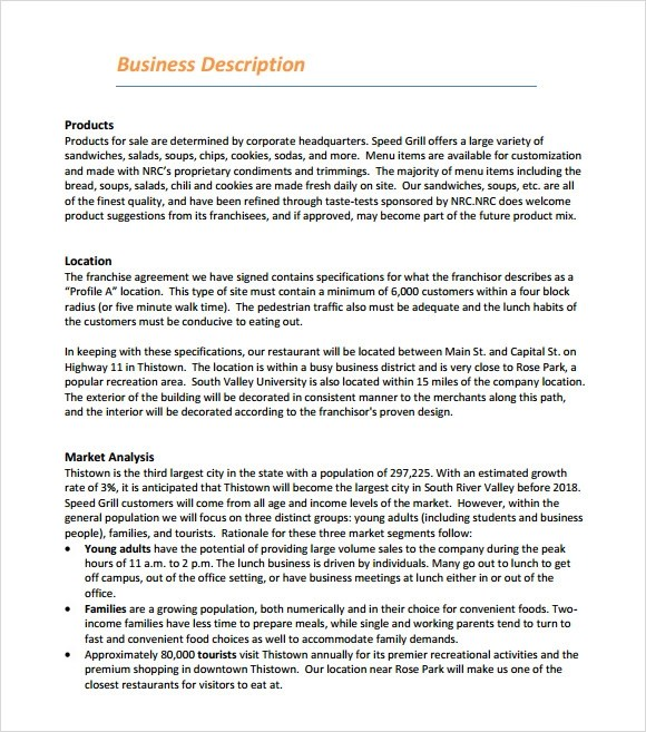 Business Plan Business Plan Templates Business Plan Restaurant Business Plan Template 6 Download Free