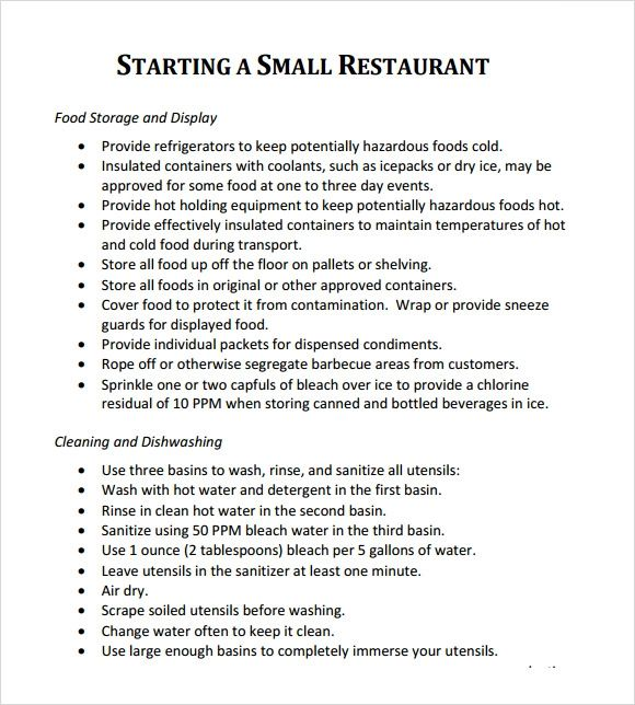 restaurant proposal sample