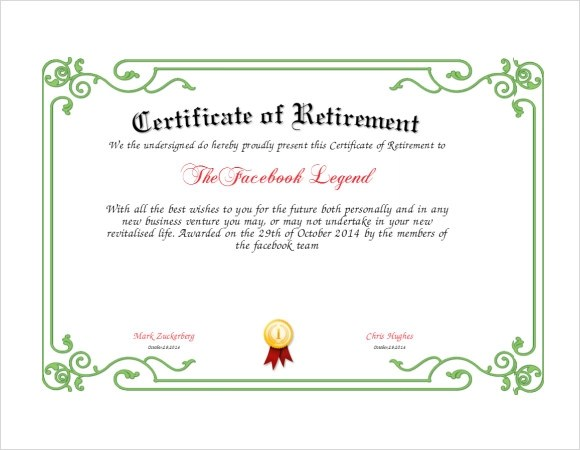 8 Sample Retirement Certificate Templates to Download Sample Templates - free printable certificate templates word