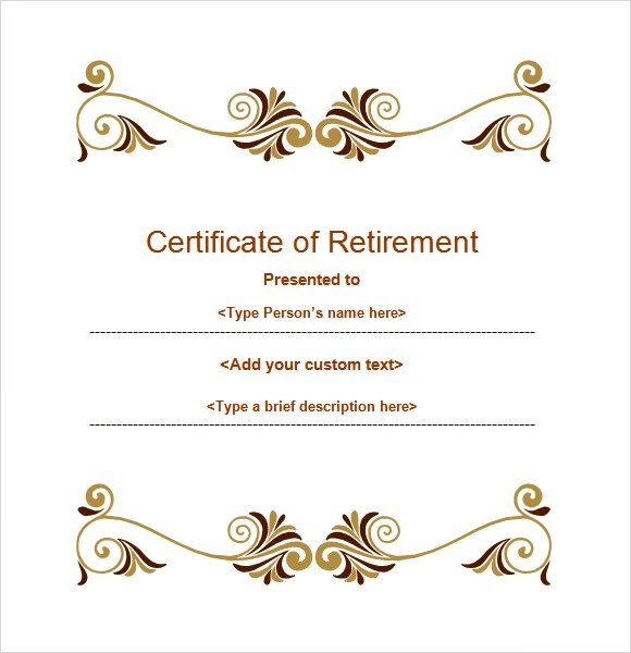 8 Sample Retirement Certificate Templates to Download Sample Templates - farewell certificate template