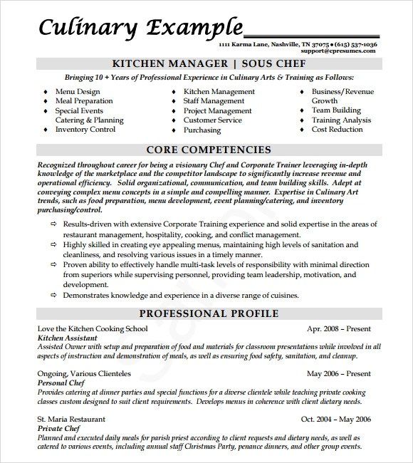 14 Useful Sample Chef Resume Templates to Download Sample Templates - executive chef resume pdf