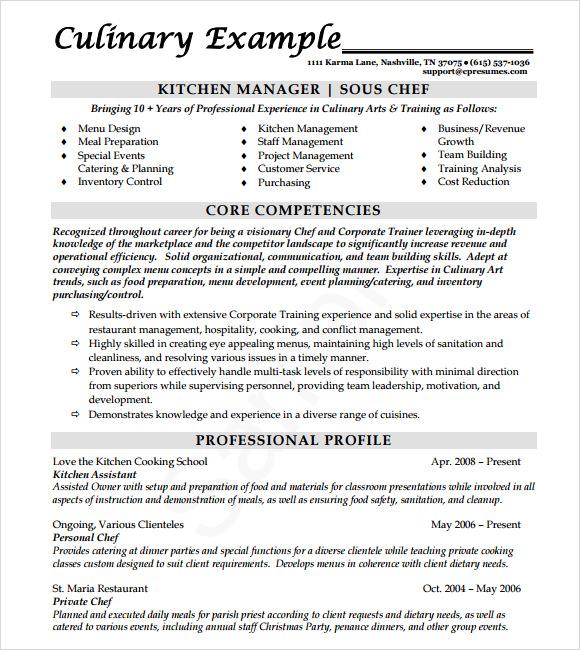 chef resume sample doc