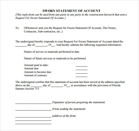 sworn statement template - Ozilalmanoof - printable affidavit form